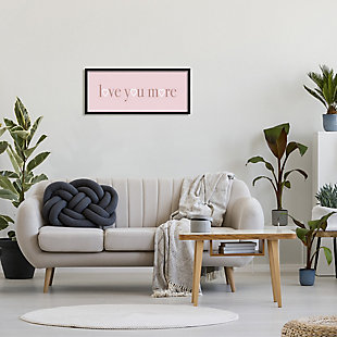 Stupell Industries Soft Pink Love You More Phrase Heart Shapes, 13 x 30, Framed Wall Art, Pink, large