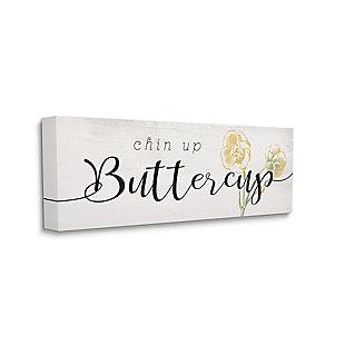 Stupell Industries Chin Up Buttercup Cute Encouragement Yellow Florals, 10 x 24, Canvas Wall Art, Black, large