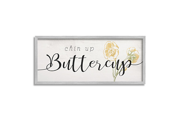 Stupell Industries Chin Up Buttercup Cute Encouragement Yellow Florals, 10 x 24, Framed Wall Art, Black, large