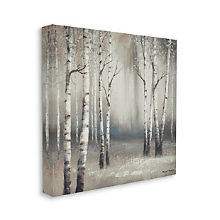 Stupell Industries Misty Birch Tree Forest Muted Landscape Grey White, 24 x 24, Canvas Wall Art, Gray, large