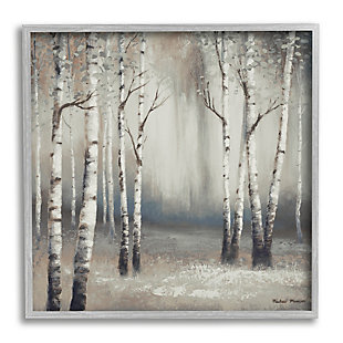 Stupell Industries Misty Birch Tree Forest Muted Landscape Grey White, 12 x 12, Framed Wall Art, Gray, large