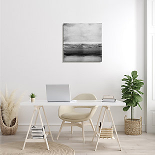Stupell Industries Monochromatic Grey Rustic Abstraction Layered Shades, 24 x 24, Canvas Wall Art, Gray, large