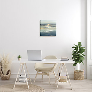 Stupell Industries Abstract Tranquil Nautical Sunrise Reflection Grey Blue, 17 x 17, Canvas Wall Art, Gray, rollover