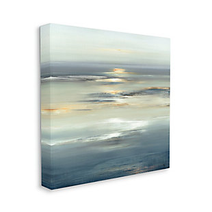 Stupell Industries Abstract Tranquil Nautical Sunrise Reflection Grey Blue, 17 x 17, Canvas Wall Art, Gray, large