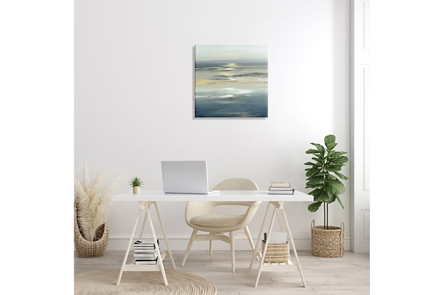 Stupell Industries Abstract Tranquil Nautical Sunrise Reflection Grey Blue, 24 x 24, Canvas Wall Art, Gray, large