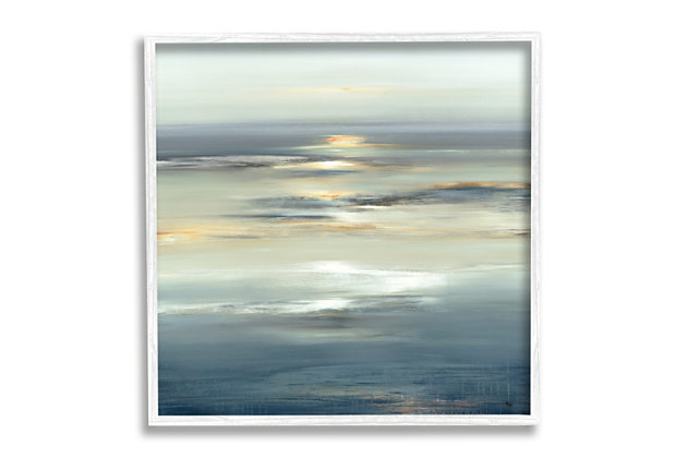 Stupell Industries Abstract Tranquil Nautical Sunrise Reflection Grey Blue, 12 x 12, Framed Wall Art, Gray, large
