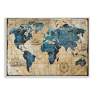 Stupell Industries Vintage Abstract World Map Design, 10 x 15, Wood Wall Art, Multi, large