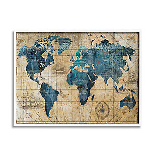 Stupell Industries Vintage Abstract World Map Design, 11 x 14, Framed Wall Art, Multi, large