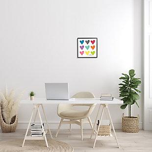 Stupell Industries Watercolor Cute Hearts Love, 12 x 12, Framed Wall Art, Multi, rollover