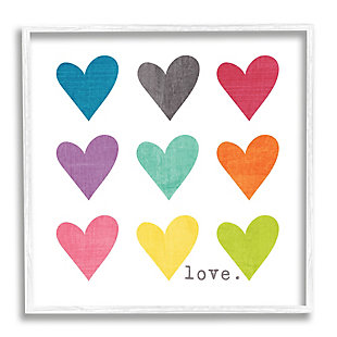 Stupell Industries Watercolor Cute Hearts Love, 12 x 12, Framed Wall Art, Multi, large