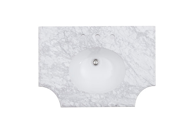 Southern Enterprises Hart Marble-Topped Mirrored Vanity Sink, , large