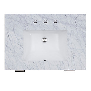 Southern Enterprises Malta Mirrored Vanity Sink with Marble Top, , large