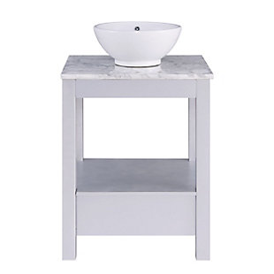 Southern Enterprises Horacio Mirrored Vanity with Marble Top and Vessel Sink, , large