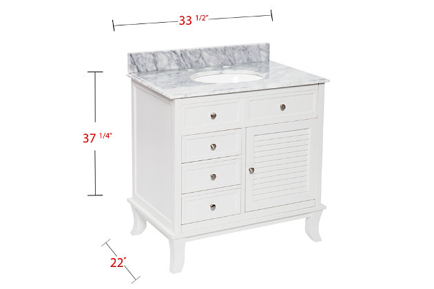 Southern Enterprises Bazely Bath Vanity Sink with Marble Counter Top, , large