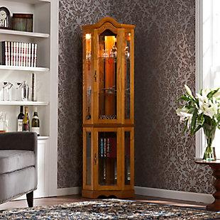 Gemson Corner Curio Cabinet - Golden Oak, , rollover