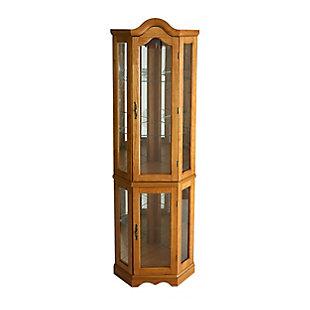Gemson Corner Curio Cabinet - Golden Oak, , large