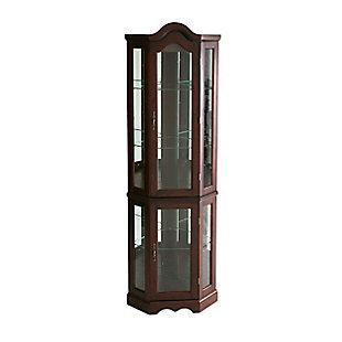 Gemson Corner Curio Cabinet - Mahogany, , large