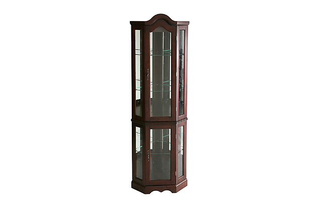 Gemson Corner Curio Cabinet Mahogany, White Corner Curio Cabinet With Glass Doors