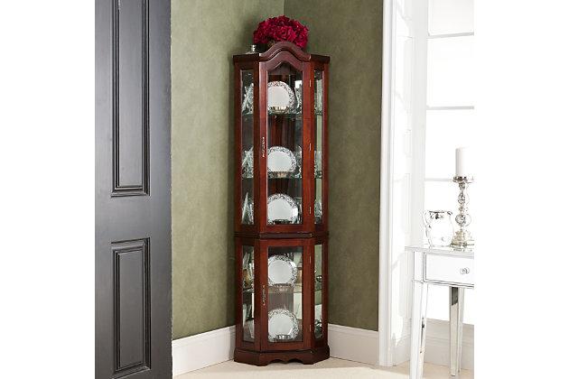 Gemson Corner Curio Cabinet Mahogany, Ashley Furniture Armoire Top