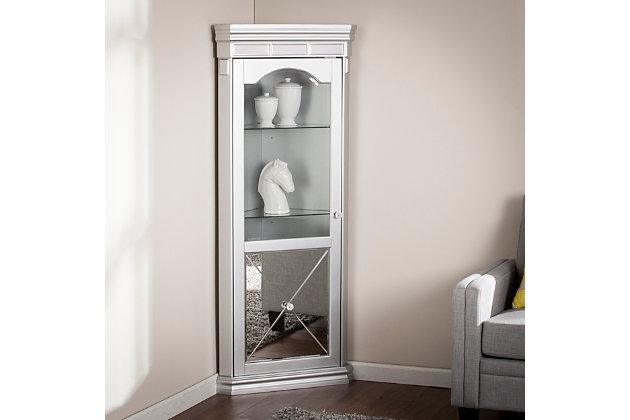 Bellah Mirrored Lighted Corner Curio, Curio Corner Cabinet