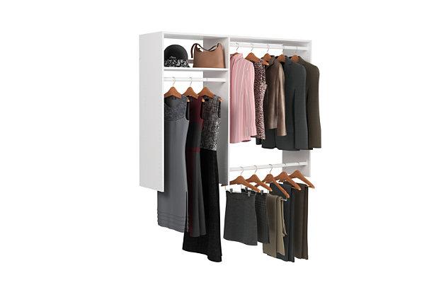 "EasyFit Closet Storage Solutions 36""-60"" W White Hanging Closet System, White, large"