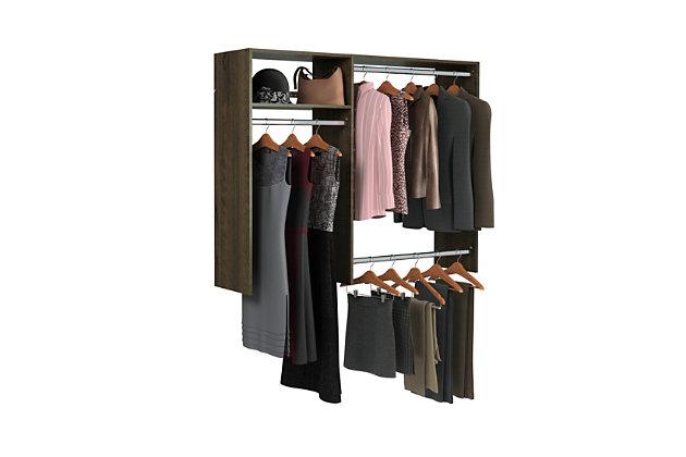 "EasyFit Closet Storage Solutions 36""-60"" W Truffle Hanging Closet System, Truffle, large"