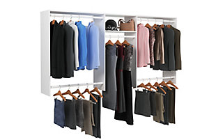 "EasyFit Closet Storage Solutions 48""-96"" W White Basic Hanging Closet System, White, large"