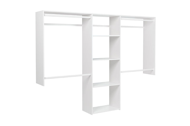 "EasyFit Closet Storage Solutions 48""-96""W White Closet System, , large"