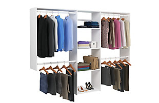 "EasyFit Closet Storage Solutions 48""-96""W White Closet System, White, large"