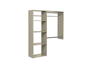 "EasyFit Closet Storage Solutions 36""-60"" W Weathered Gray Shelving Closet System, Weathered Gray, rollover"