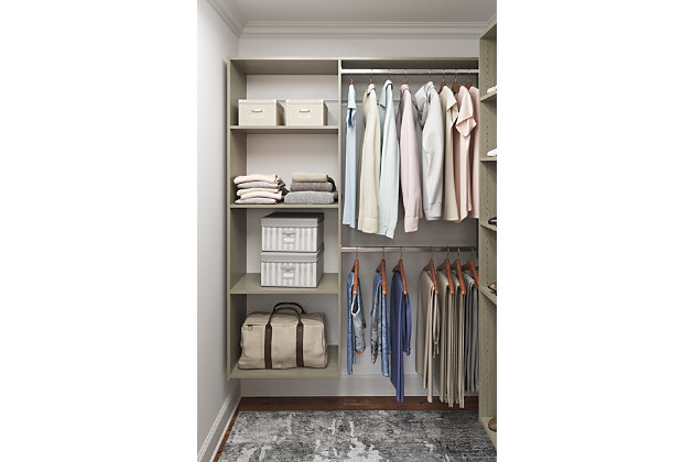 "EasyFit Closet Storage Solutions 36""-60"" W Weathered Gray Shelving Closet System, Weathered Gray, large"