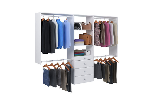 "EasyFit Closet Storage Solutions 48""-96"" W White Closet System, White, large"