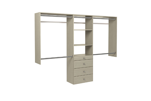 "EasyFit Closet Storage Solutions 48""-96"" W Weathered Gray Closet System, Weathered Gray, large"