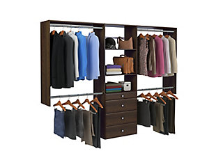 "EasyFit Closet Storage Solutions 48""-96"" W Truffle Closet System, Truffle, large"