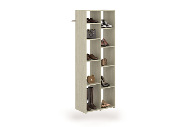 EasyFit Closet Storage Solutions Weathered Gray 10 Pair Adjustable Shoe Tower, Weathered Gray, large