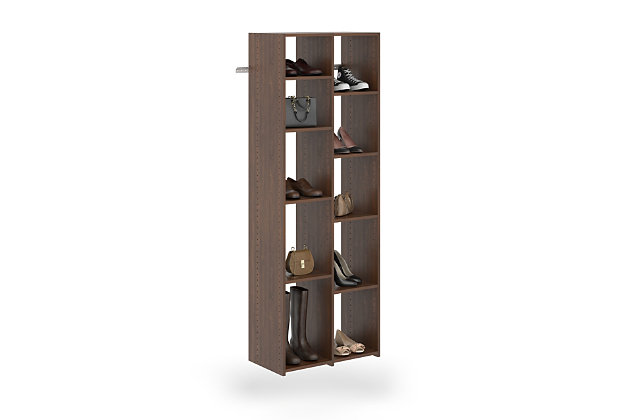 EasyFit Closet Storage Solutions Truffle 10 Pair Adjustable Shoe Tower, Truffle, large