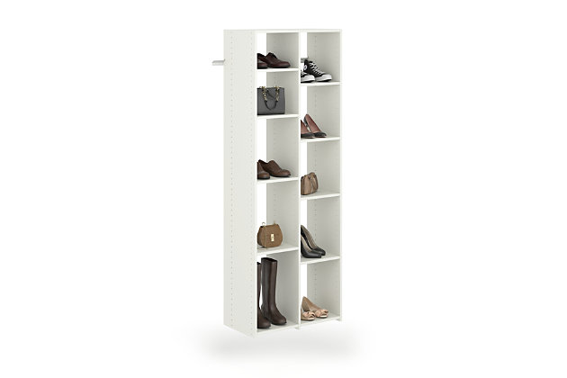 EasyFit Closet Storage Solutions White 10 Pair Adjustable Shoe Tower, White, large