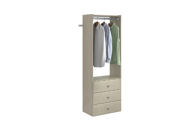 "EasyFit Closet Storage Solutions 25"" W Weathered Gray Tower Kit, Weathered Gray, large"