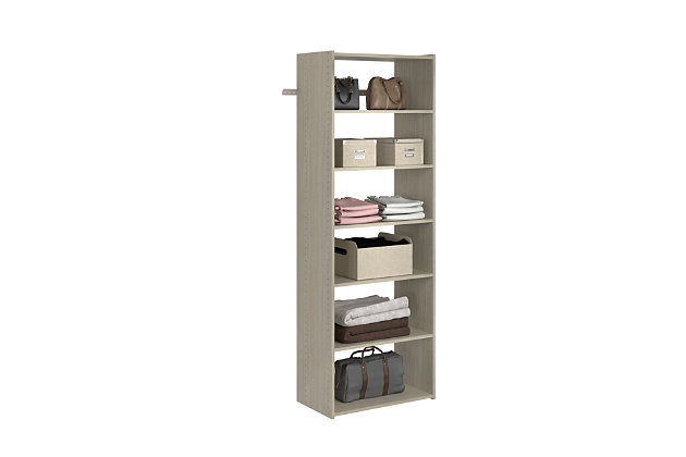 "EasyFit Closet Storage Solutions 25"" W Weathered Gray Shelf Tower Kit, Weathered Gray, large"