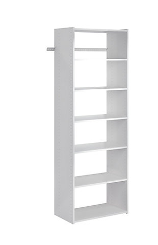 "EasyFit Closet Storage Solutions 25"" W White Shelf Tower Kit, White, large"