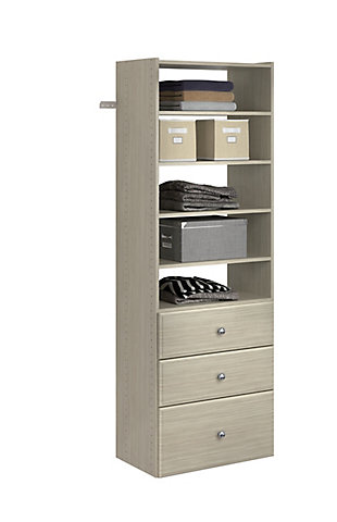 "EasyFit Closet Storage Solutions 25"" W Weathered Gray Premium Tower Kit, Weathered Gray, large"