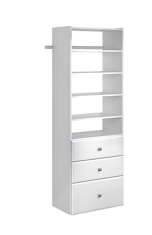"EasyFit Closet Storage Solutions 25"" W White Premium Tower Kit, White, rollover"