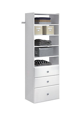 "EasyFit Closet Storage Solutions 25"" W White Premium Tower Kit, White, large"