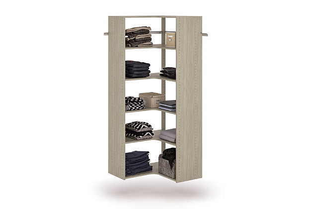 "EasyFit Closet Storage Solutions 30"" W X 30"" D Weathered Gray Corner Tower Kit, Weathered Gray, large"