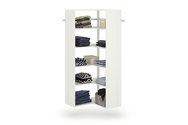 "EasyFit Closet Storage Solutions 30"" W X 30"" D White Corner Tower Kit, White, large"