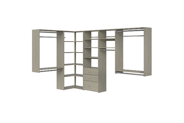"""EasyFit Closet Storage Solutions 66"""" W X 114"""" D White Ultimate Corner Kit, Weathered Gray, large"""
