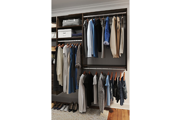 "EasyFit Closet Storage Solutions 66"" W X 114"" D White Ultimate Corner Kit, Truffle, large"