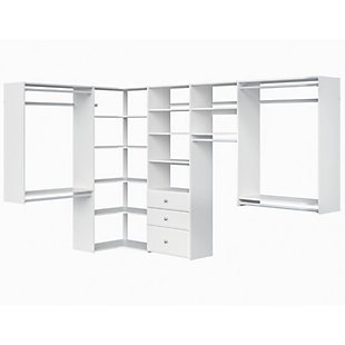 "EasyFit Closet Storage Solutions 66"" W X 114"" D White Ultimate Corner Kit, White, large"