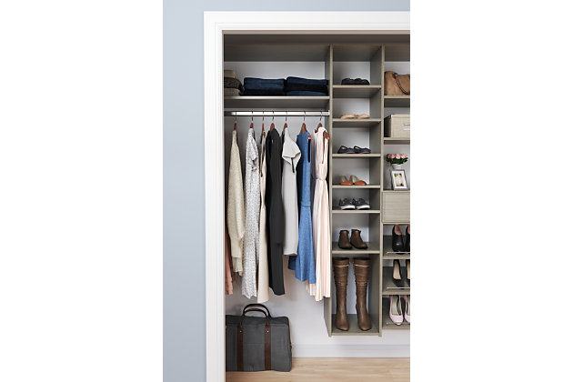 "EasyFit Closet Storage Solutions 60""-108"" W Weathered Gray Shoe Storage Closet Kit, Weathered Gray, large"