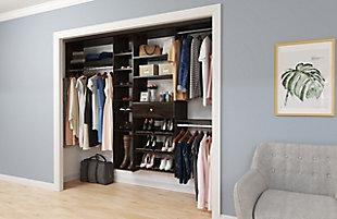 """EasyFit Closet Storage Solutions 60""""-108"""" W TruffleShoe Storage Closet Kit, Truffle, large"""